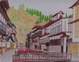 山形県の銀山温泉の朝の様子